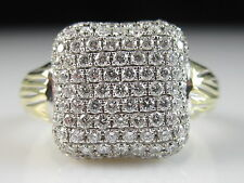 18K Diamond Pave Ring White Yellow Spark Creations Fine Jewelry Designer Size 5