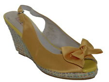 Pilar Abril Yellow Satin Wedge Peep Toes Size 5 SP £65