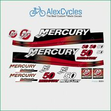 MERCURY 50 HP Outboard Replacement Laminated RED Decals Kit Set Marine Boat