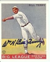 Bill Terry Signed Autographed Baseball Card 1933 Goudey Reprint Giants GV613423