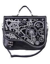 Sac cartable noir mécanisme engrenage d'horloge steampunk Restyle