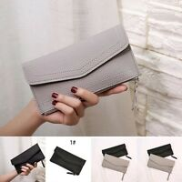 New long PU leather women girl purse wallet card holders mobile thin zip handbag
