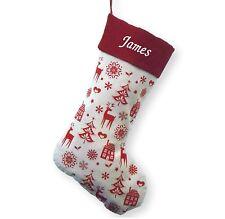 Personalizado De Lujo Bordado Navidad Media Saco De Lujo Santa Nórdico Navidad