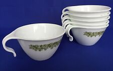 Corelle Crazy Daisy Hook Handle Coffee Cups Set of 6 Green Spring Blossom VTG