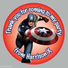 Personalised Captain America Marvel Birthday Stickers Sweet Party Thank You -276