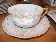Antique 1903 A K France Limoges Cup & Saucer-Artist Signed H.M. Holly-Pink Roses
