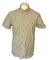 Men's Levi's Strauss Casual Shirt Blue White Striped Medium Short Sleeve