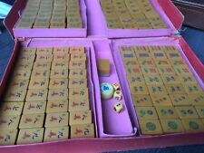 VINTAGE BUTTERSCOTCH BAKELITE top and BAMBOO BACK MAHJONG SET 145 tiles, perfect