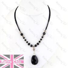 3cm FACET GLASS DROP vintage victorian gothic BLACK NECKLACE faux onyx crystal