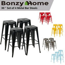 "Set of 4 30"" Metal Barstools Stackable Patio Bar Kitchen Counter Stools Chairs"
