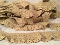 """2 YARDS COTTON SPANDEX LACE TRIM (TAN)11/2"""" WIDE FOR SEWING PROJECTS CRAFTS ETC"""