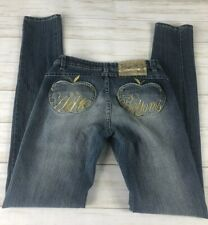 APPLE BOTTOMS  Blue Jeans Slim Skinny Distressed Junior's sz  3/4 Inseam 32