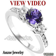 18k Solid White Gold Tanzanite 0.68CT Diamond Engagement Ring