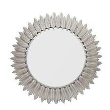 Round Wall Mirror SILVER Finish frame SILVER ROUND MIRROR WITH LEAF DESIGN