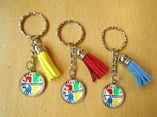 Autism Awareness Keyring Metal Glass Handmade Bag Charm Silver Tone & Tassel