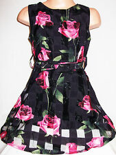 GIRLS BLACK PINK ROSE PRINT FLARED PRINCESS PAGEANT PROM PARTY DRESS age 2-3