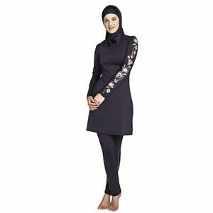 Women Muslim Full Body Cover Long Sleeve Swimwear Maxi Modest Burkini Swimsuit