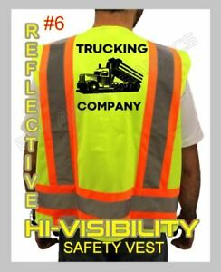 CUSTOM HI-VISIBILITY SAFETY VEST BLACK DESIGN YOUR TRUCKING COMPANY *REFLECTIVE*