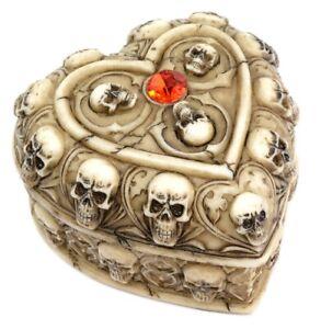 Heart Shaped Gothic Skull Trinket Box Jewellery Goth Giftware Detail On Box Gem