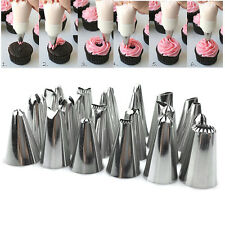24Pc Icing Piping Nozzles Tips Cake Sugarcraft Pastry Decor Baking Tools Kits ET