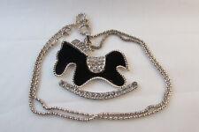 Black enamel rocking horse pendant with rhinestones gold tone tons of bling