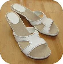 """GH BASS CO. Slip-On Cork Wedge Sandals 10M White 2"""" Heel Padded Insole"""