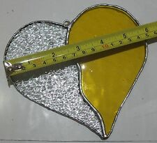 Stained Glass Love Heart Suncatcher Yellow & Clear Tiffany Technique