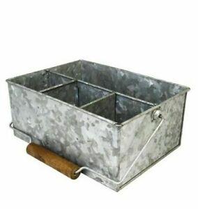 Galvanised Steel Table Caddy Cutlery Napkin Condiment Utensil Sauce Holder Caddy