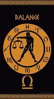 Serviette de plage Drap de bain Signe du Zodiaque astrologique Balance Jacquard