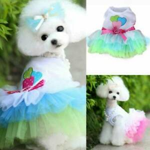 Pet Lace Princess Dress Puppy Dog Clothes Bow Heart Tutu Skirt Costume Apparel