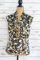 Ann Taylor - BLACK brown beige LEOPARD sleeveless pleated top blouse, size 4