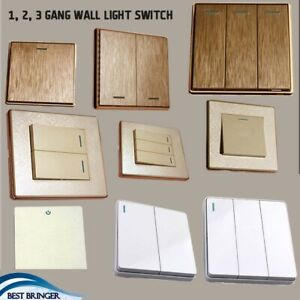 1/2/3 Gang Wall Light Switch Screw less Brushed Gold/Textured Cream/White Finish
