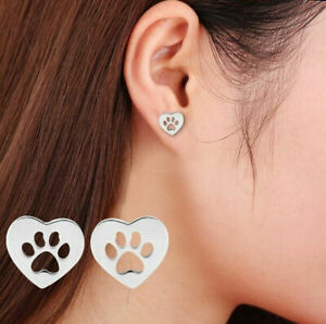 Fashion Women Dog Paw Print Stud Earrings Gold,Silver,Rose Gold Plated Jewelry
