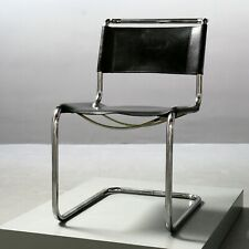 Thonet Stuhl S 33, Stahlrohr Bauhaus Leder schwarz Mart Stam Freischwinger Chair