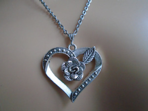 Heart Pendant Silver Colour Stainless Steel Chain Necklace Free Gift Bag UK