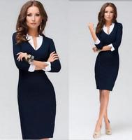 Women V-Neck Bodycon Dress Pencil Slim Formal 3/4 Sleeve Office Workwear Dress