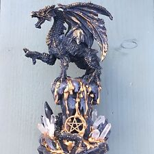 OOAK 15.8cm Gold Lava Dragon Genuine Clear Quartz & Pentagram Resin Statue Wicca