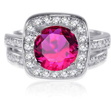 Sterling Silver Round Brilliant Cut Ruby Red CZ Wedding Engagement Ring Set