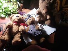 3 Collectible Brown Teddy Bears with Moveable Arms and Legs