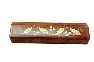 Vintage ARCHANA HANDICRAFTS Brass Grape Vine Inlaid Wooden Pencil Case Box India