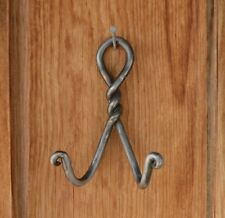 """6"""" Twisted Metal Double Hook Hat Holder w Visible Tool Marks Hand Wrought?"""