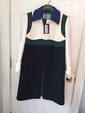 PRADA S/S RUNWAY Color Block Virgin Wool Coat Jacket IT42 NWT Blue Green White