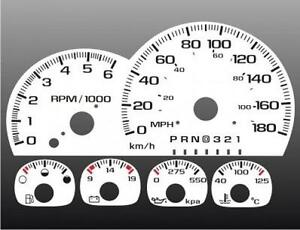 1997-1999 Chevy Truck 180 kmh METRIC Dash Cluster White Face Gauges