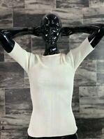 NWT Anteprima Ivory Ribbed 3/4 Sleeve Stretch Blouse