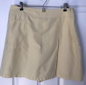 Izod X-tra Dry Fit Golf Sport Skort/Short Women's 14 Butter Yellow 100% Poly EUC