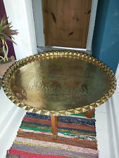 More details for vintage indian/north african folding table with a large ornate brass tray top