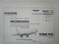 1974-75 PUB COMPAGNIE AERIENNE AEROFLOT SOVIET AIRLINES IL62 MOSCOW URSS CCCP AD
