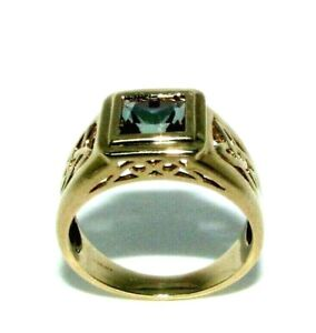 Mens Gents 9ct 9Carat Gold Alexandrite Ring UK Size Q