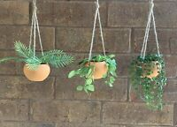 "3 Realistic Artificial Hanging Plants W/Terra-cotta Dish - 14""-17"" Total Height"