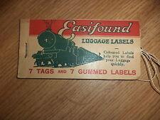 Vintage steam train Railway ticket luggage labels
